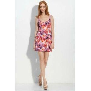 Nanette Lepore rose print body con dress Sz 10
